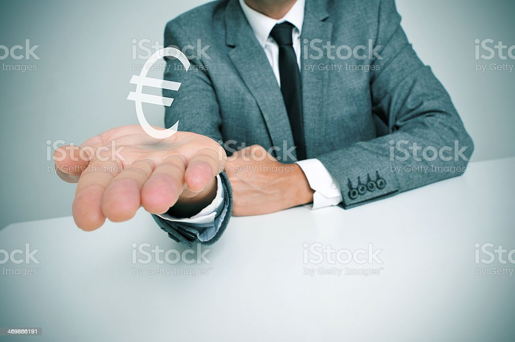 businessman and euro sign stock photo