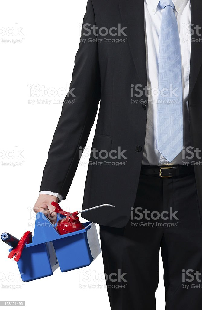 businessman and his tools stock photo