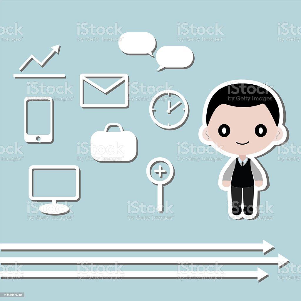 Businessman and icon symbol Vector illustration stock photo