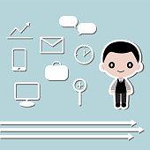 Businessman and icon symbol Vector illustration
