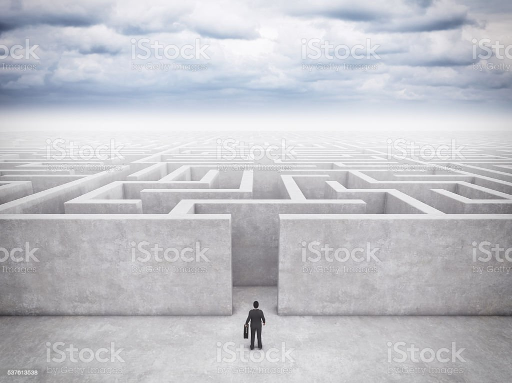 Businessman And Maze stock photo