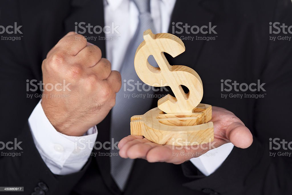 Businessman and money icons stock photo