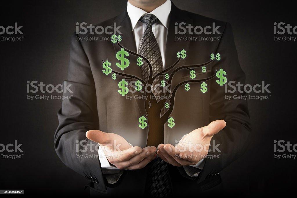 Businessman and money tree stock photo