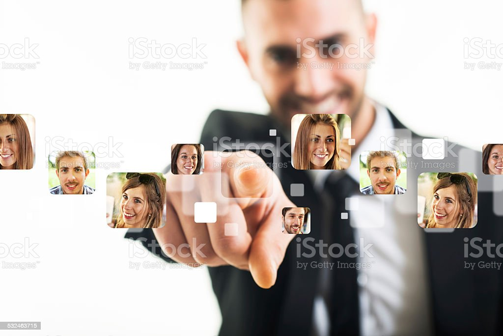 Businessman and Monitor Touch stock photo