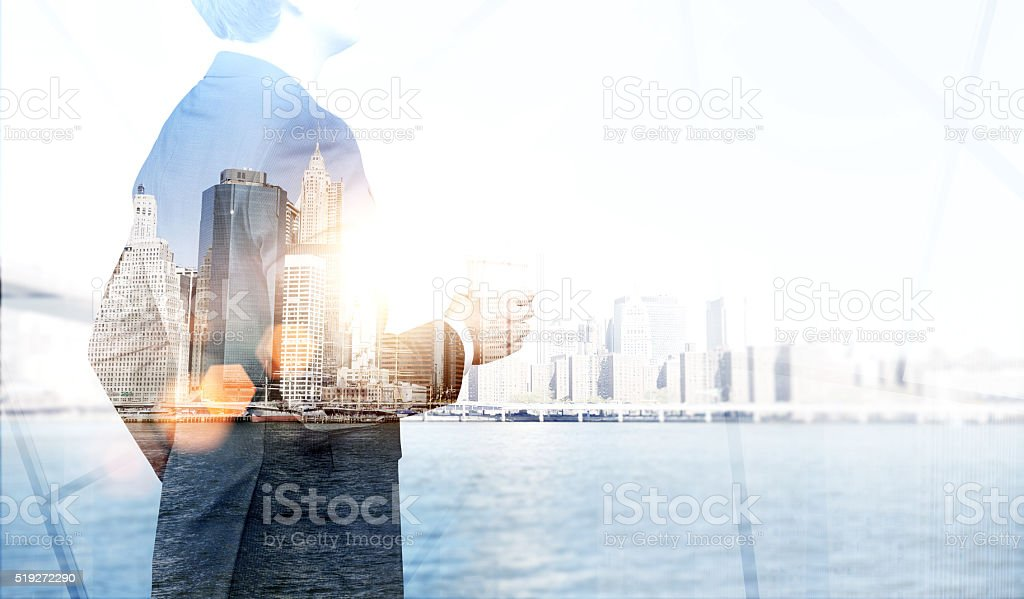 Businessman and New York stock photo