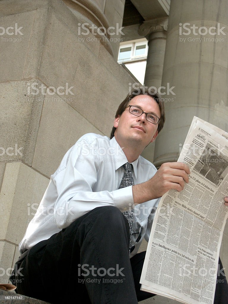Businessman and Newspaper 03 royalty-free stock photo