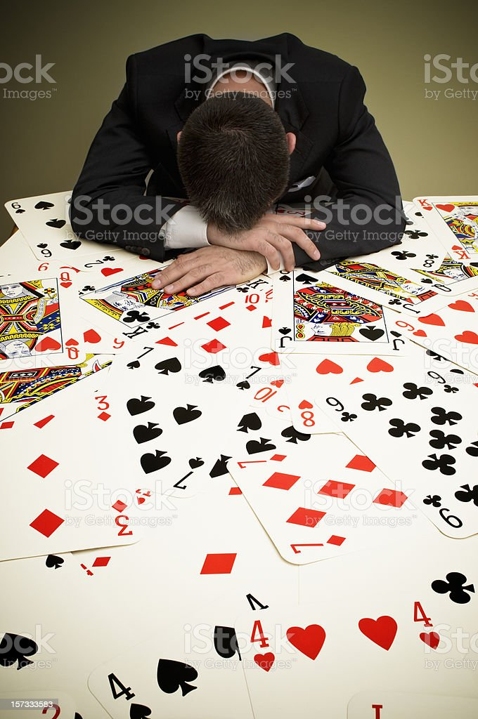 Businessman and Playing Cards royalty-free stock photo