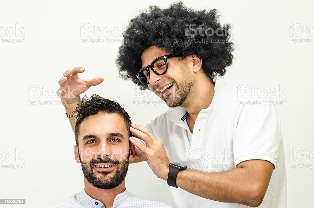 businessman and popular hairdresser stock photo