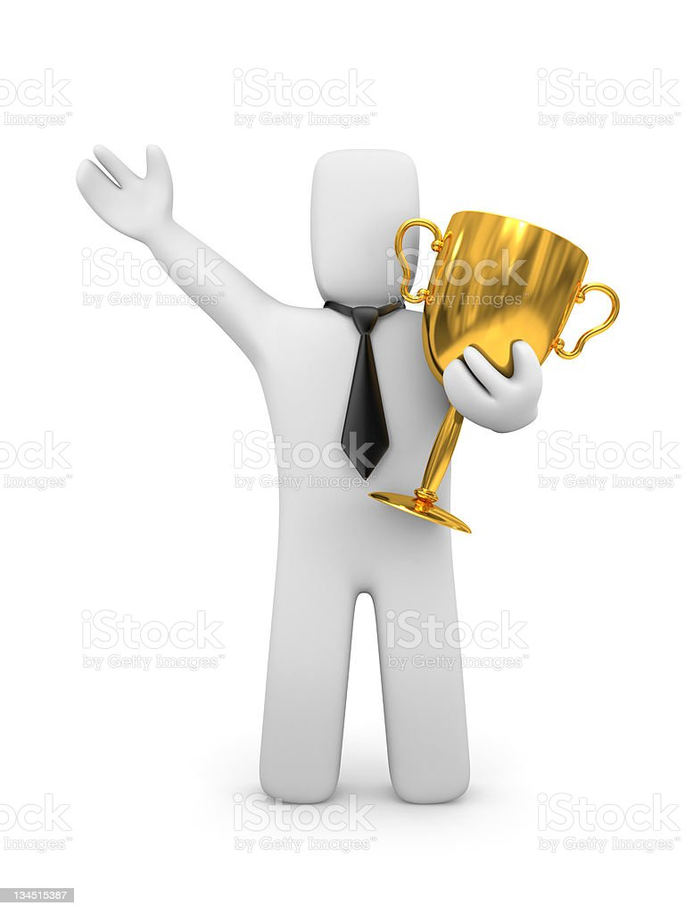 Businessman and prize royalty-free stock photo