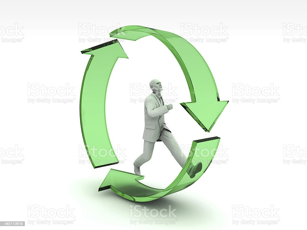 Businessman and Recycle Icon stock photo