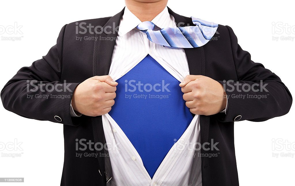 Businessman and superman concept stock photo