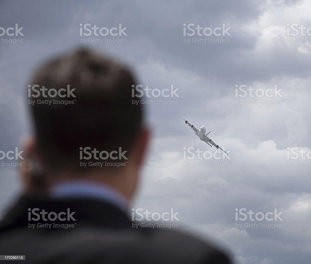Homme d'affaires et l'avion royalty-free stock photo