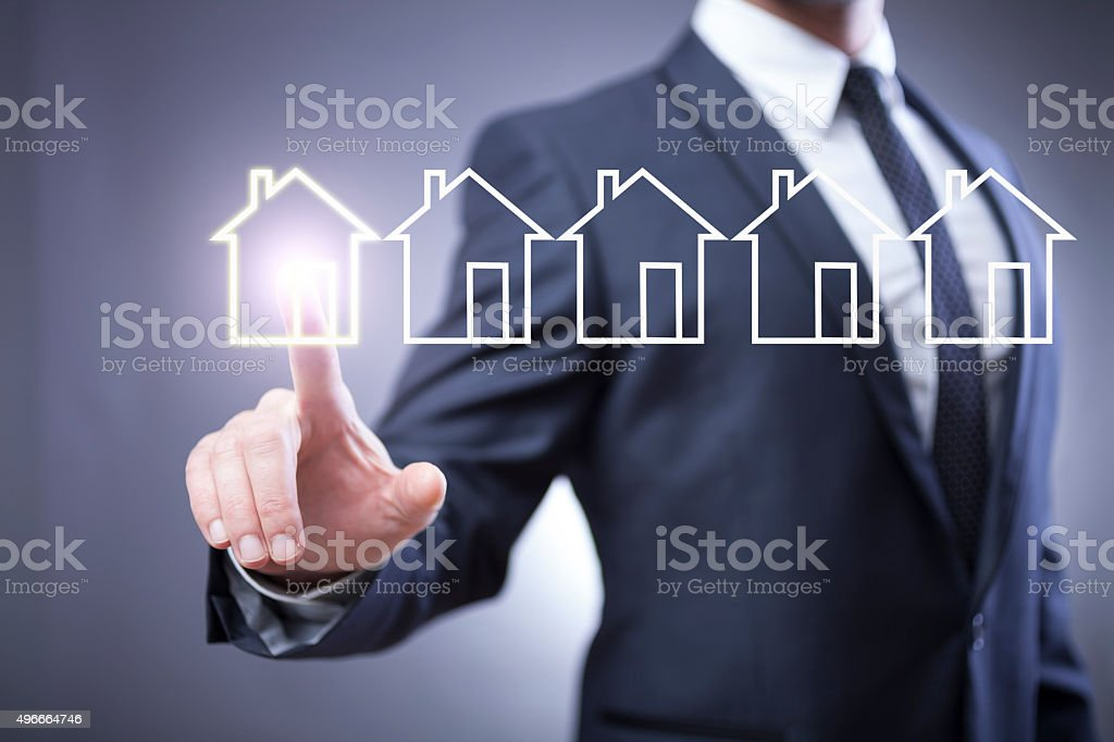 Businessman and touch display stock photo