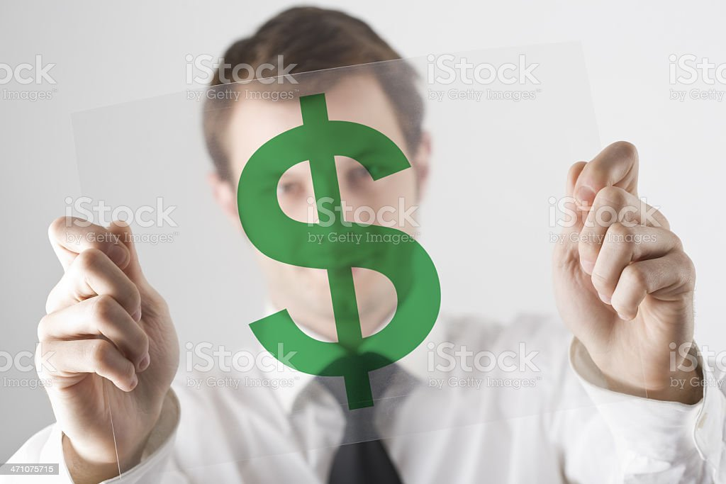 Businessman and transparency sheet stock photo