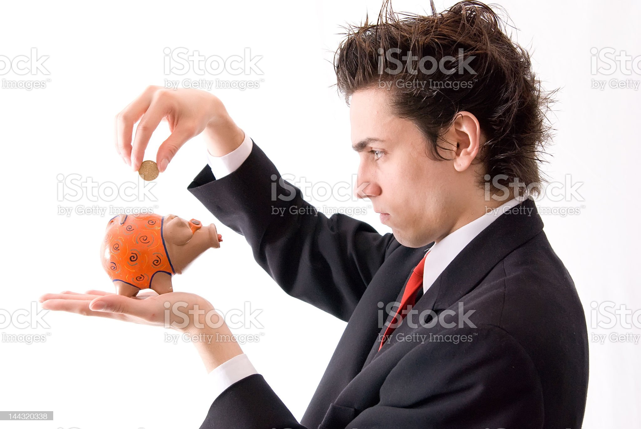 Businessman and your Piggy Bank royalty-free stock photo