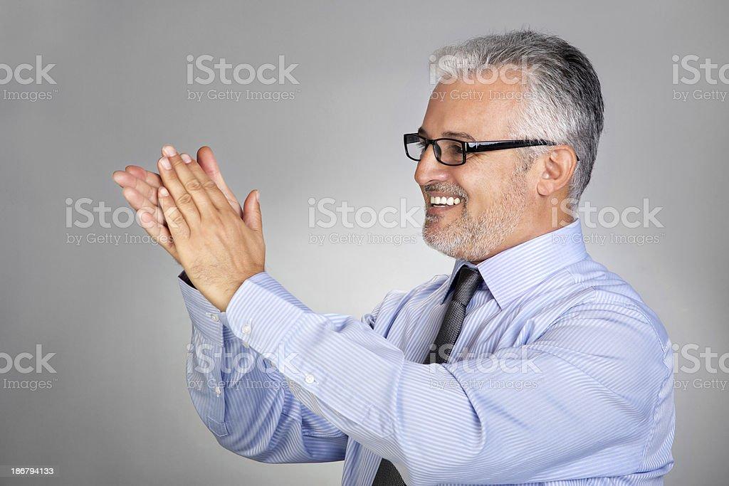 Businessman applauding stock photo