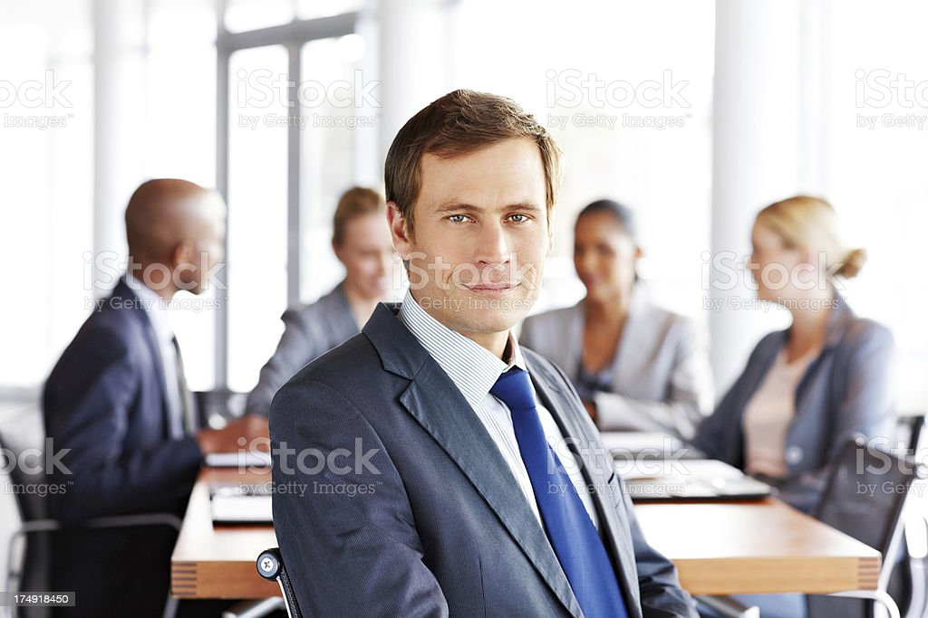 Businessman at a Business Meeting royalty-free stock photo