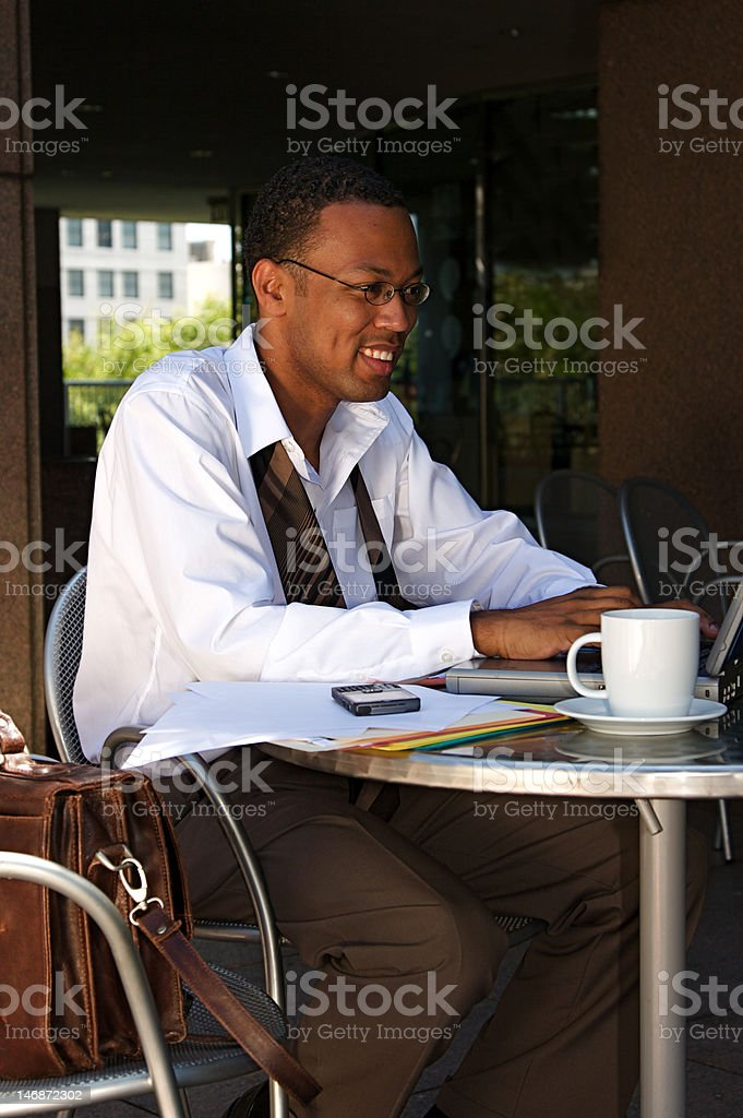 Businessman at a Cafe royalty-free stock photo
