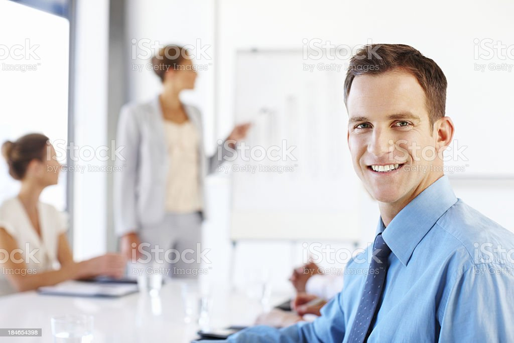 Businessman at a Meeting royalty-free stock photo