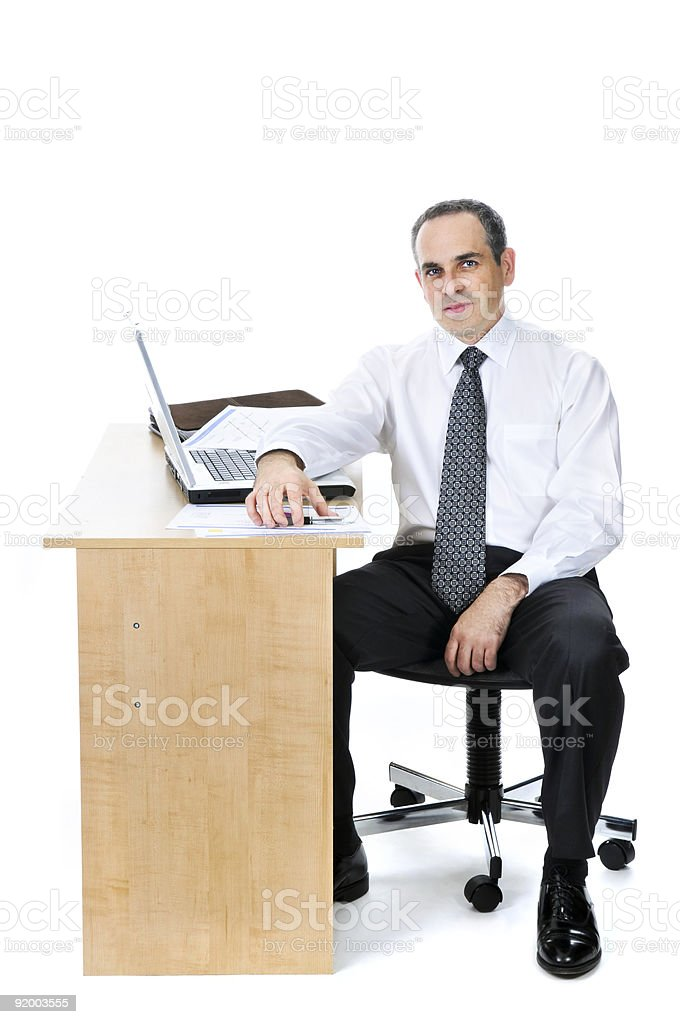 Businessman at his desk on white background royalty-free stock photo