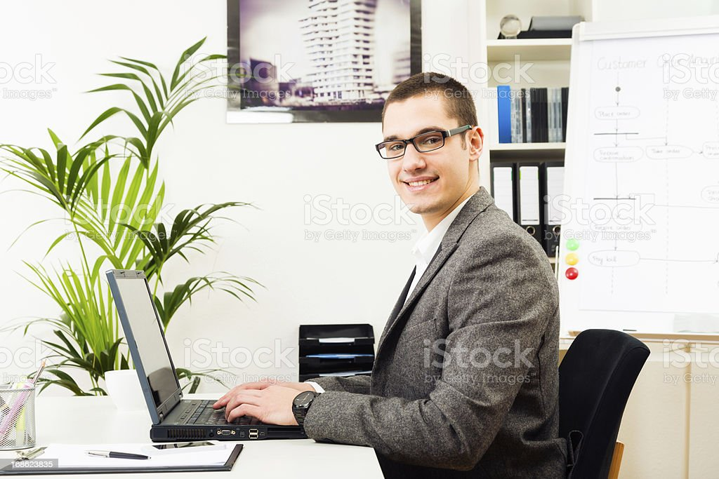 businessman at his desk, working royalty-free stock photo