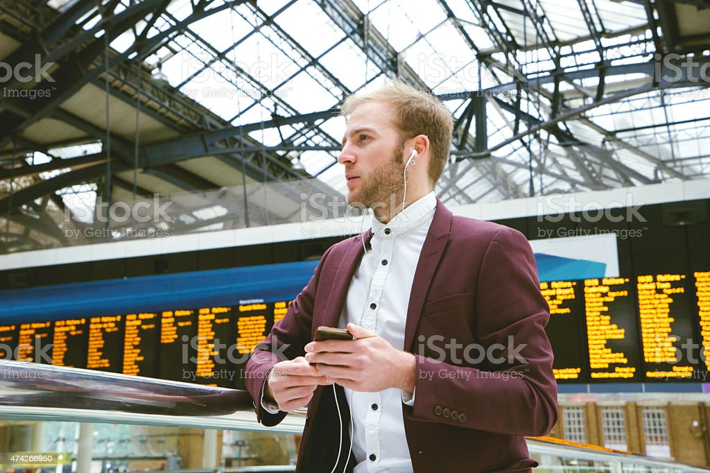 Businessman At The Railway Station stock photo