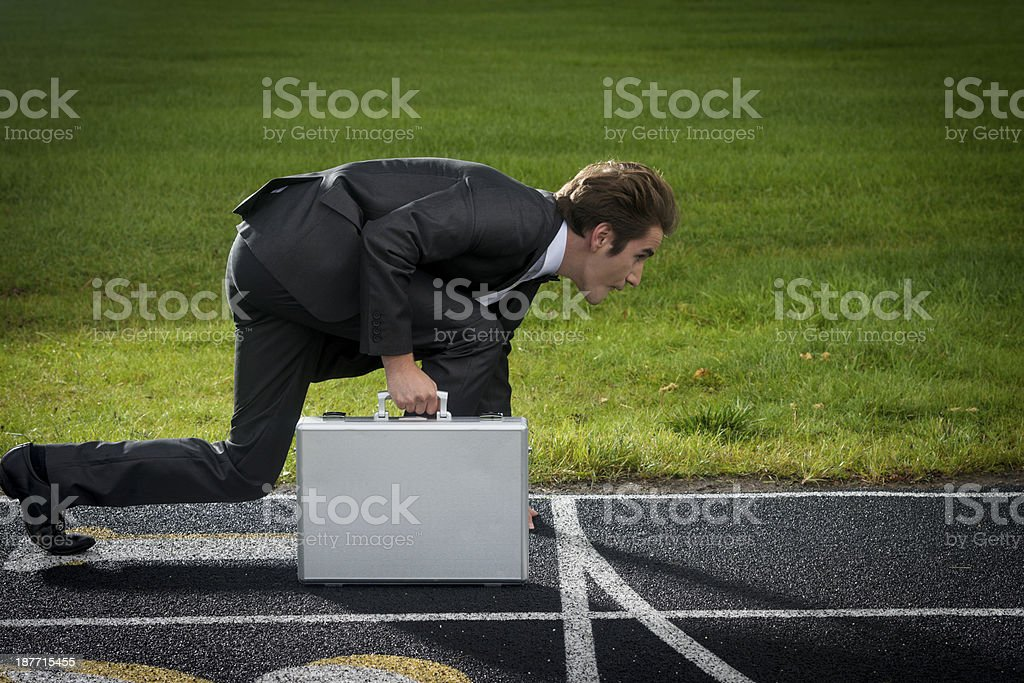 Businessman at the Starting line royalty-free stock photo