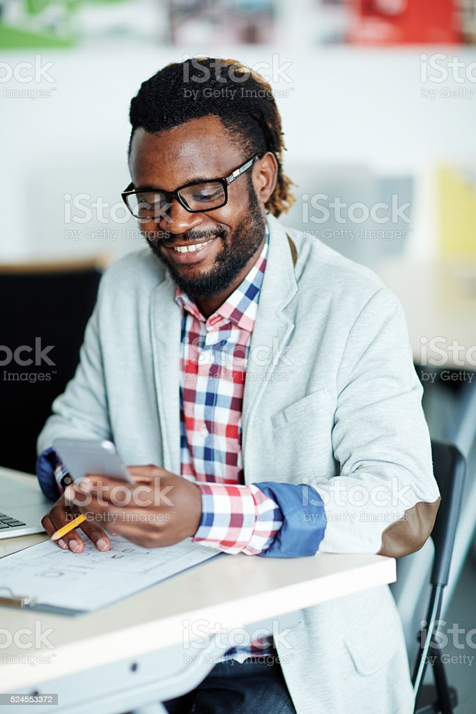 Businessman at workplace stock photo