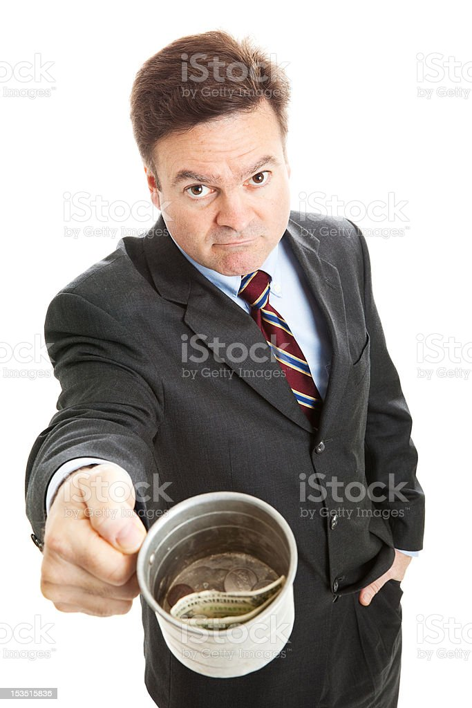 Businessman Begging for Change stock photo