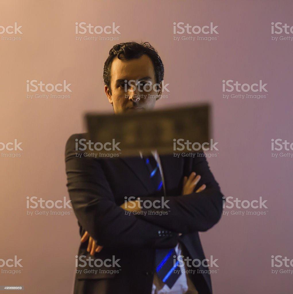 Businessman Behind A Dollar stock photo