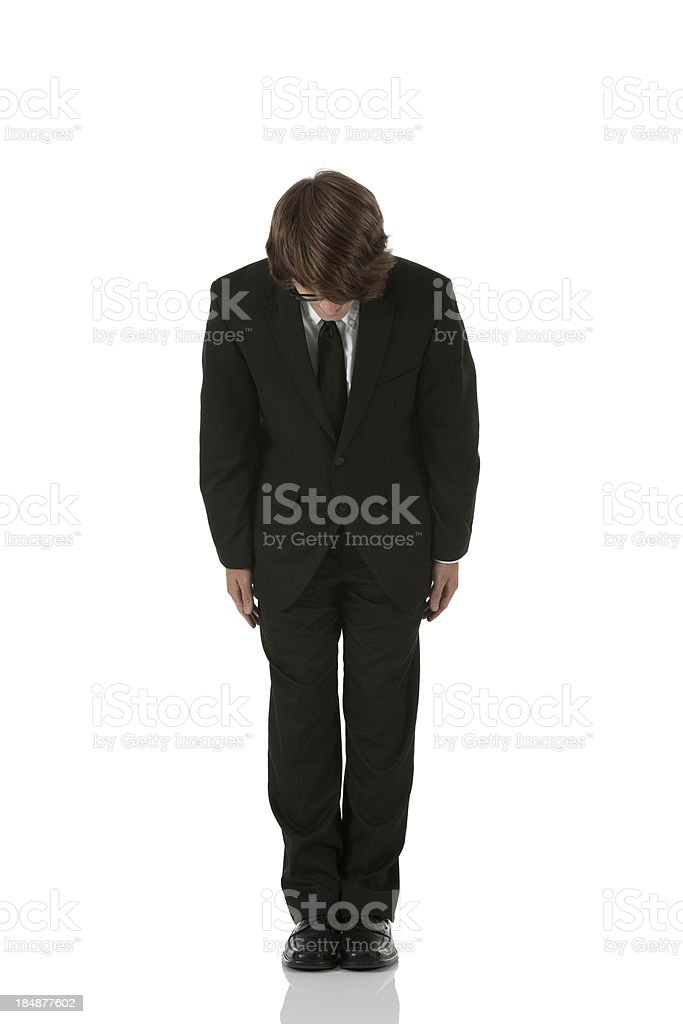 Businessman bowing stock photo