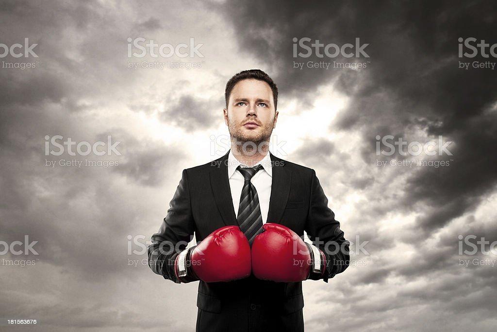 businessman boxing royalty-free stock photo