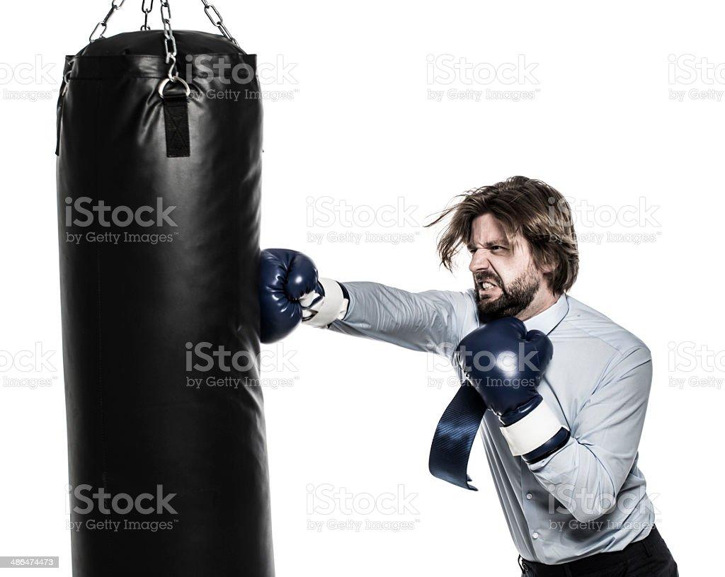 Businessman boxing stock photo