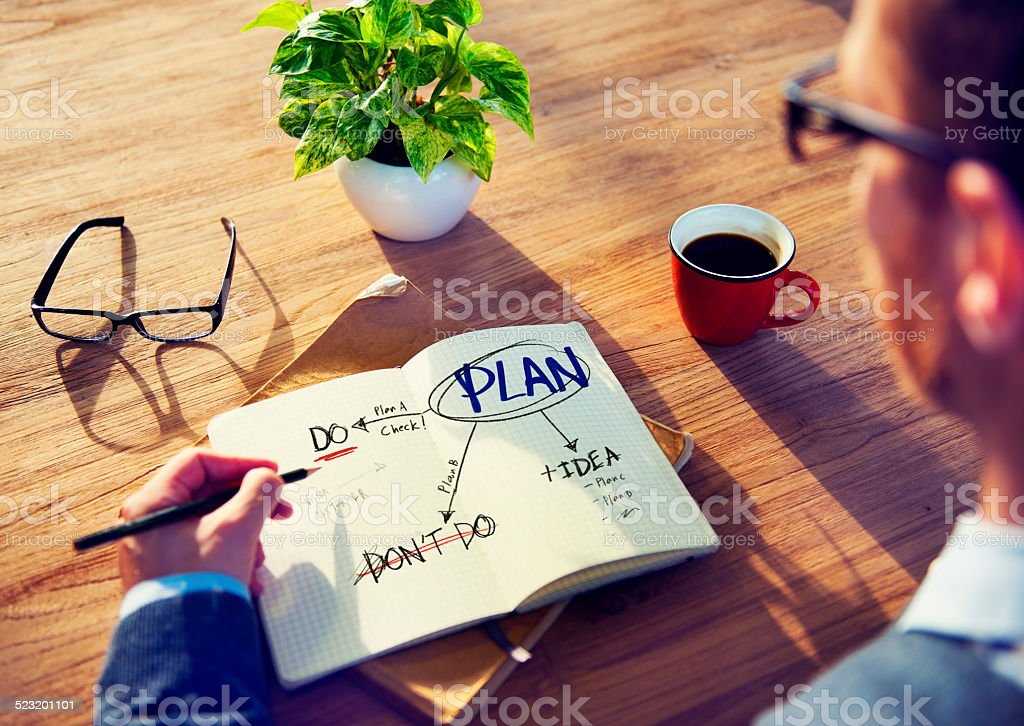 Businessman Brainstorming about Planning stock photo