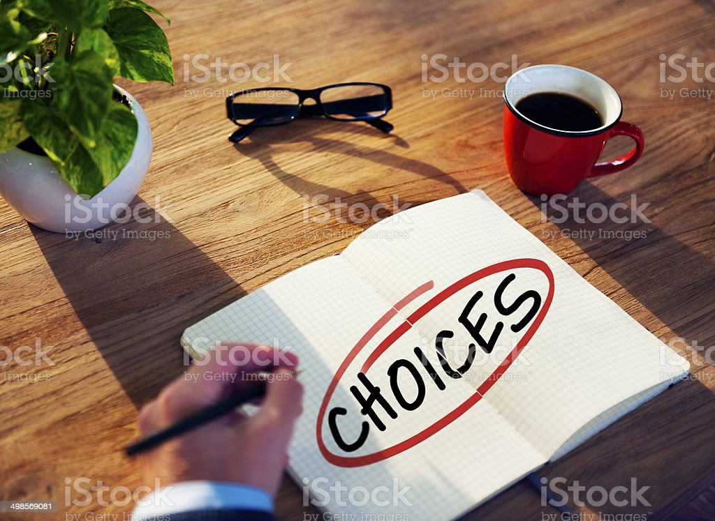 Businessman Brainstorming About Right Choices royalty-free stock photo