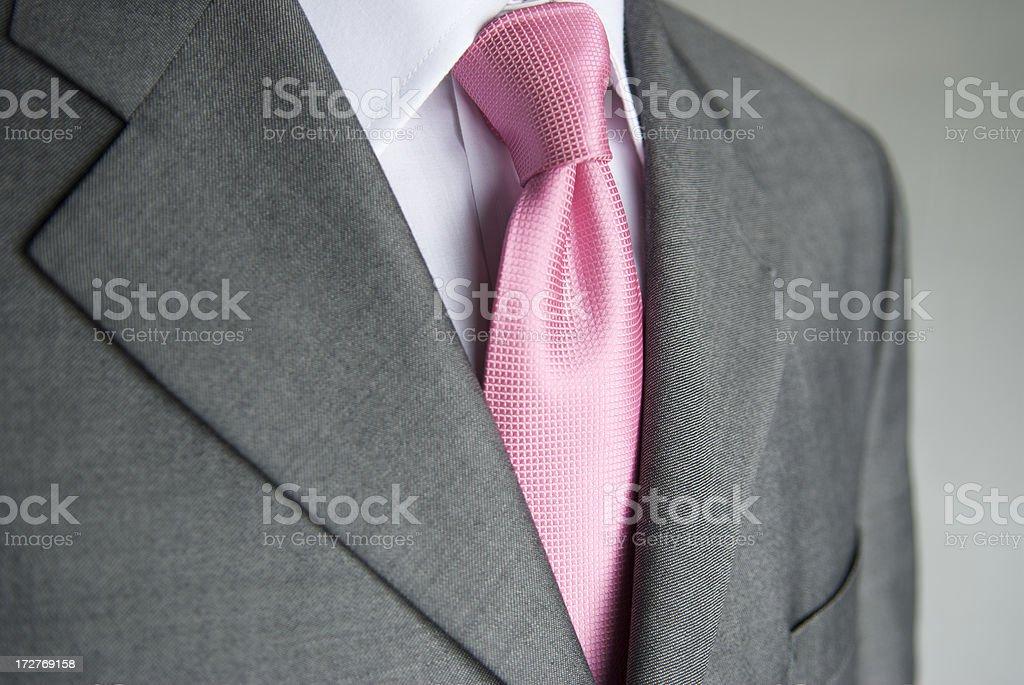 Businessman Bright Pink Necktie Gray Suit Close-Up stock photo