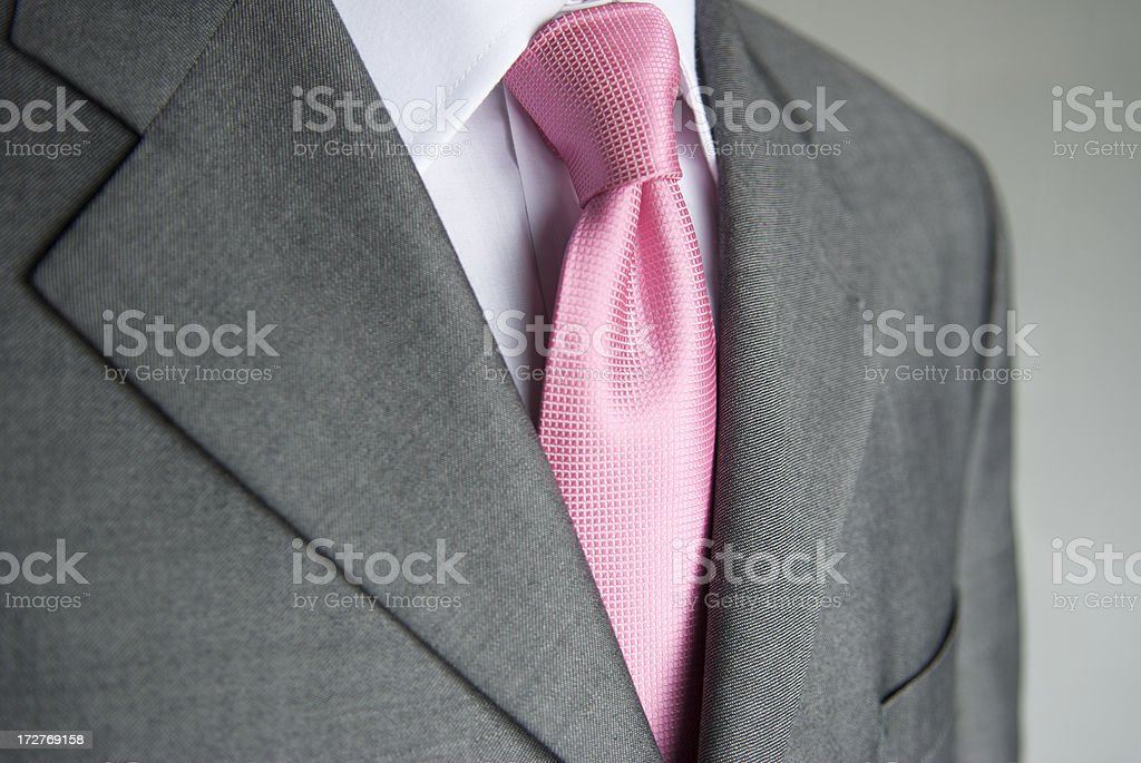 Businessman Bright Pink Necktie Gray Suit Close-Up stock photo