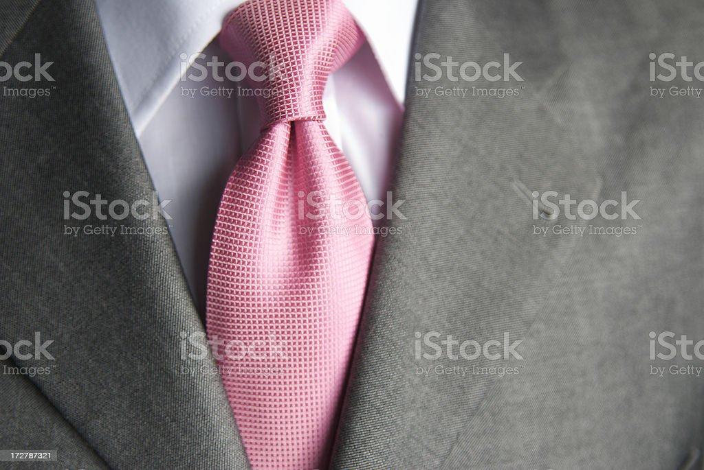 Businessman Bright Pink Shiny Tie Close-Up stock photo