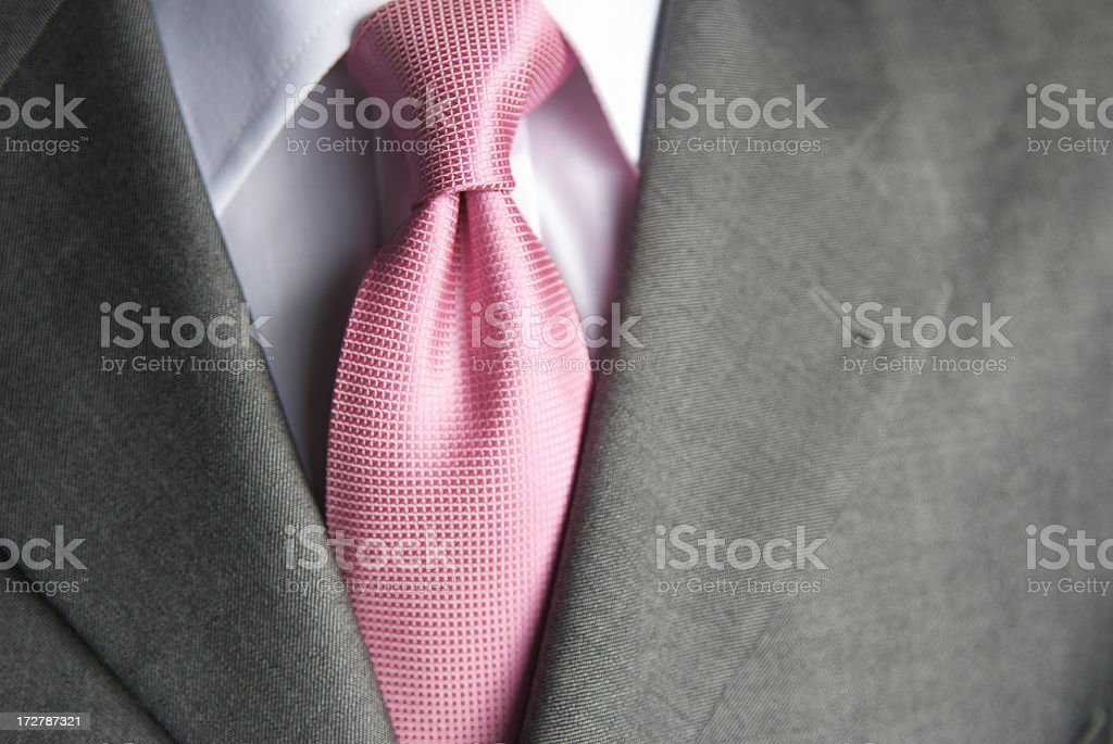 Businessman Bright Pink Shiny Tie Close-Up stock photo