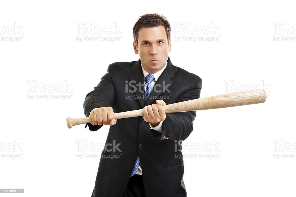Businessman Bunting with Baseball Bat on white stock photo