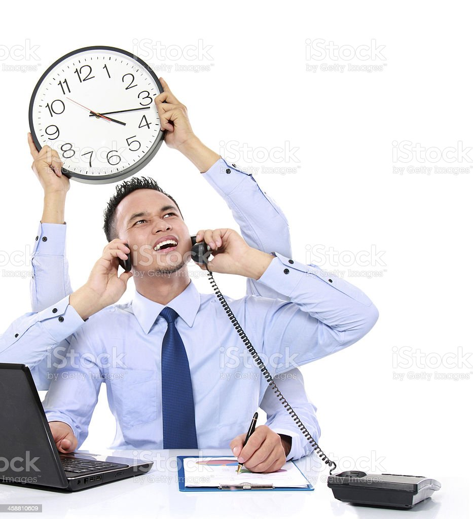businessman busy multitasking stock photo