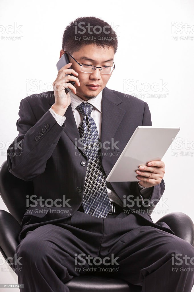 Businessman call stock photo