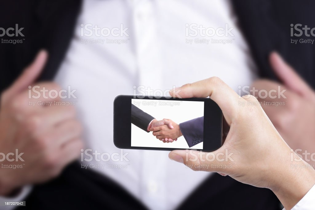 Businessman capture for check co ordinate royalty-free stock photo