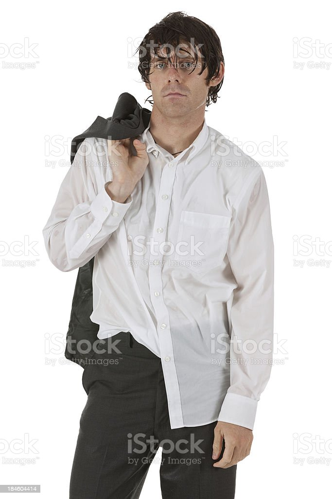 Businessman carrying a coat on his shoulders stock photo