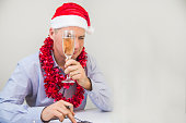 Businessman Celebrate Merry Christmas And Happy New Year