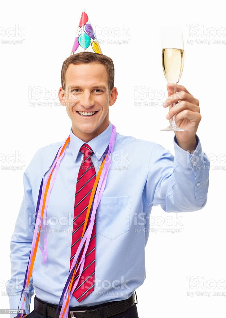 Businessman Celebrating An Event - Isolated royalty-free stock photo