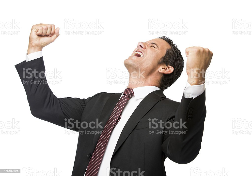 Businessman celebrating royalty-free stock photo