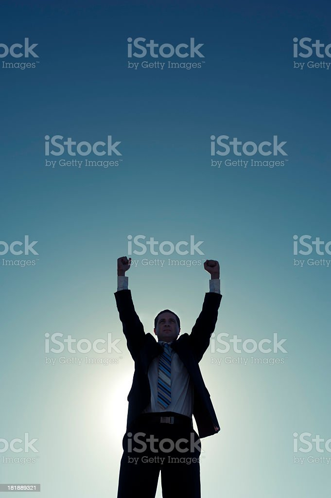 Businessman celebrating success royalty-free stock photo
