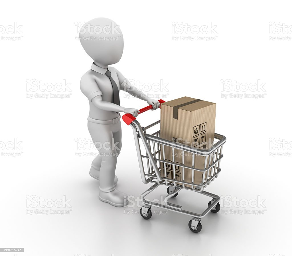 Businessman Character and Shopping Cart with Cardboard Boxes stock photo