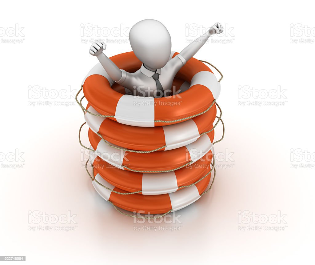 Businessman Character with Life Belt Stack stock photo